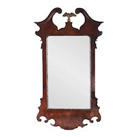 English Georgian Chippendale Mahogany Veneer Gilt Eagle Crest Wall Mirror