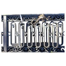 Pair of Rare American Neoclassical Heavy Bronze Bank Building Railings