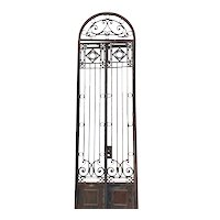 Tall Argentine F. Santilli Beaux Arts Wrought Iron Double Door and Arched Transom