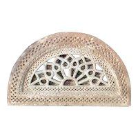 Rare Indian Sandstone Pierced Jali Window Arched Transom