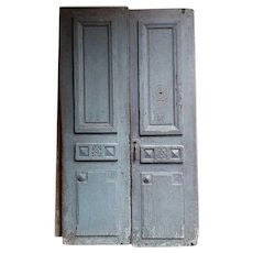 French Louis XVI Painted Oak Chateau Double Door