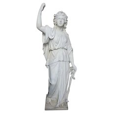 American Neoclassical White Marble Statue of Hope