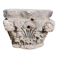 Anglo Indian Limestone Architectural Pilaster Base