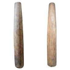 Pair of Very Large Indian Solid Satinwood Columns