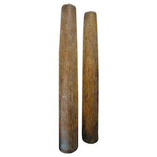 Pair of Indian Solid Satinwood Pilasters