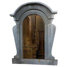 French Industrial Zinc Mansard Window as a Mirror