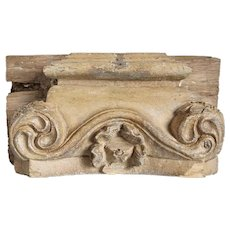 Anglo Indian Painted Teak Architectural Pilaster Capital