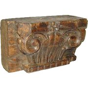 Anglo Indian Art Deco Teak Pilaster Capital