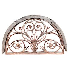 Heavy Teak and Cast Iron Arched Transom