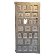 Early Spanish Walnut and Chestnut Diamond Paneled Single Door