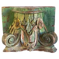 Green Painted Teak Architectural Pilaster Capital