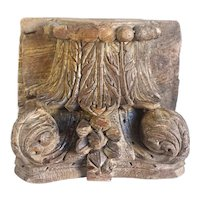 Indian Teak Architectural Pilaster Column Capital