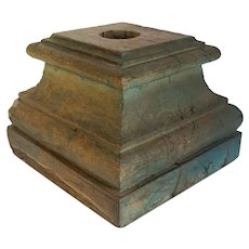 Indian Blue Painted Teak Architectural Square Pillar Base