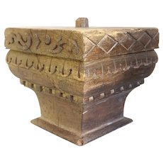 Large Anglo Indian Teak Architectural Pillar Capital as a Table Lamp