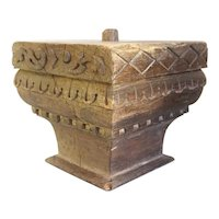 Large Indian Solid Teak Architectural Square Pillar Capital