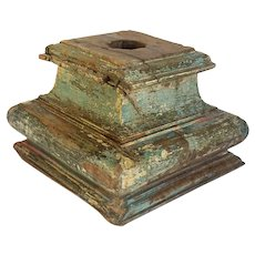 Indian Painted Solid Teak Architectural Pillar Base