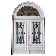 Large Argentine Belle Epoque Painted Mahogany and Iron Double Door and Transom