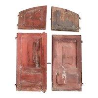 Portuguese Baroque Chestnut/Oak Four-Door Arched Window Shutters