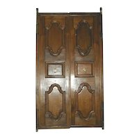 Anglo Indian Solid Teak Paneled Double Door