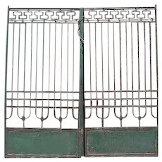 Continental Jugendstil Green Painted Wrought Iron Fencing Panels, Gate and Post