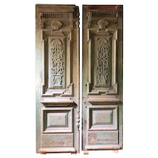 Large French Colonial Painted Pine Double Door