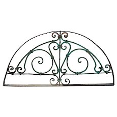 French Colonial Painted Wrought Iron Arched Transom Grille