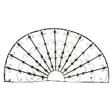 French Colonial Wrought Iron Arched Architectural Transom Grille