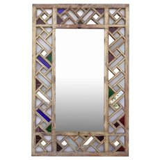 Moorish Pine and Colored Glass Fretwork Mirror Frame