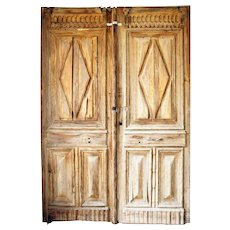 Large French Colonial Louis XIII Style Pine Double Door