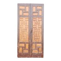 Large Moorish Painted Pine Panelled Double Door