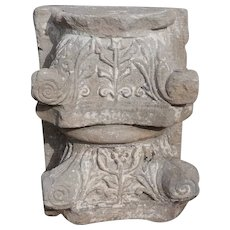 Pair of English Limestone Pilaster Capitals
