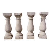 Set of Four American Neoclassical Limestone Architectural Balusters
