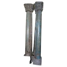 Pair of Anglo Indian Painted Teak Pilasters