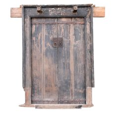 Chinese Shanxi Province Elm Double Door, Frame and Stone Bases