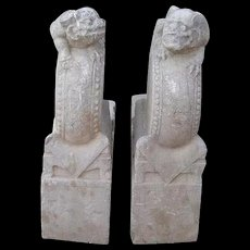 Pair of Chinese Shanxi Province Stone Architectural Foo Dog Brackets