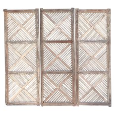 Set of Three Anglo Indian Teak Fretwork Architectural Panels