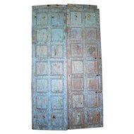 Indian Iron Mounted Painted Teak Paneled Double Door