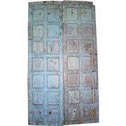 Indian Iron Mounted Painted Teak Paneled Double Door
