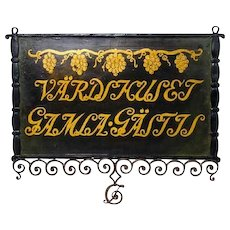 Swedish Painted Iron Bracket Building Hotel Trade Sign