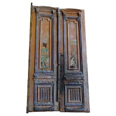 French Colonial Louis XVI Revival Painted Pine Double Door