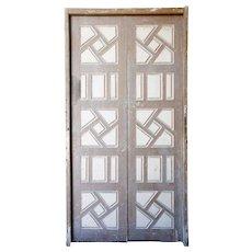 Large Moorish Painted Pine Paneled Double Door