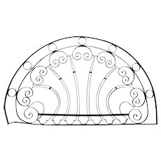 French Colonial Louis XV Style Wrought Iron Arched Transom Grille