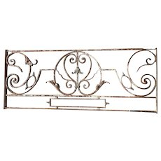 French Louis XV Style Wrought Iron and Patinated Bronze Grille Balcony Front