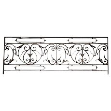 French Louis XV Style Wrought Iron Panel Balcony