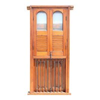 Anglo Indian Teak Louver Window with Frame and Iron Balcony Railing