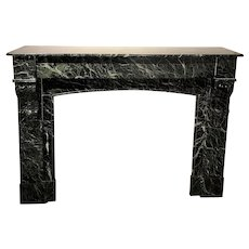 French Empire Verde Antico Marble Fireplace Surround