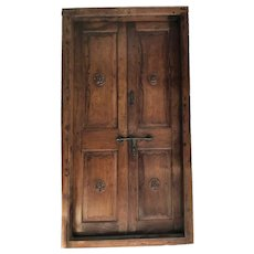 Large Indo-Portuguese Teak Double Door with Frame