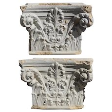 Pair American White Painted Terracotta Building Pillar Capital