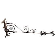 Large French Wrought Iron Sign or Lantern Bracket