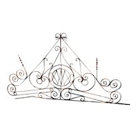 Large French Beaux Arts Wrought Iron Gate / Door Transom Grille